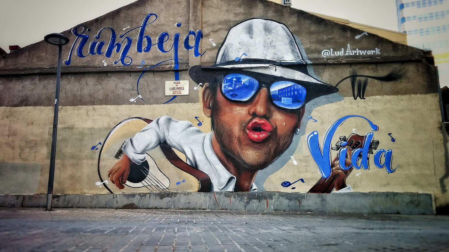 portrait graffiti décoration murale chapeau lunettes guitare