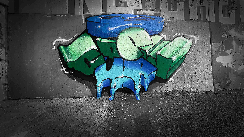 street art bleu vert graffiti décoration mural