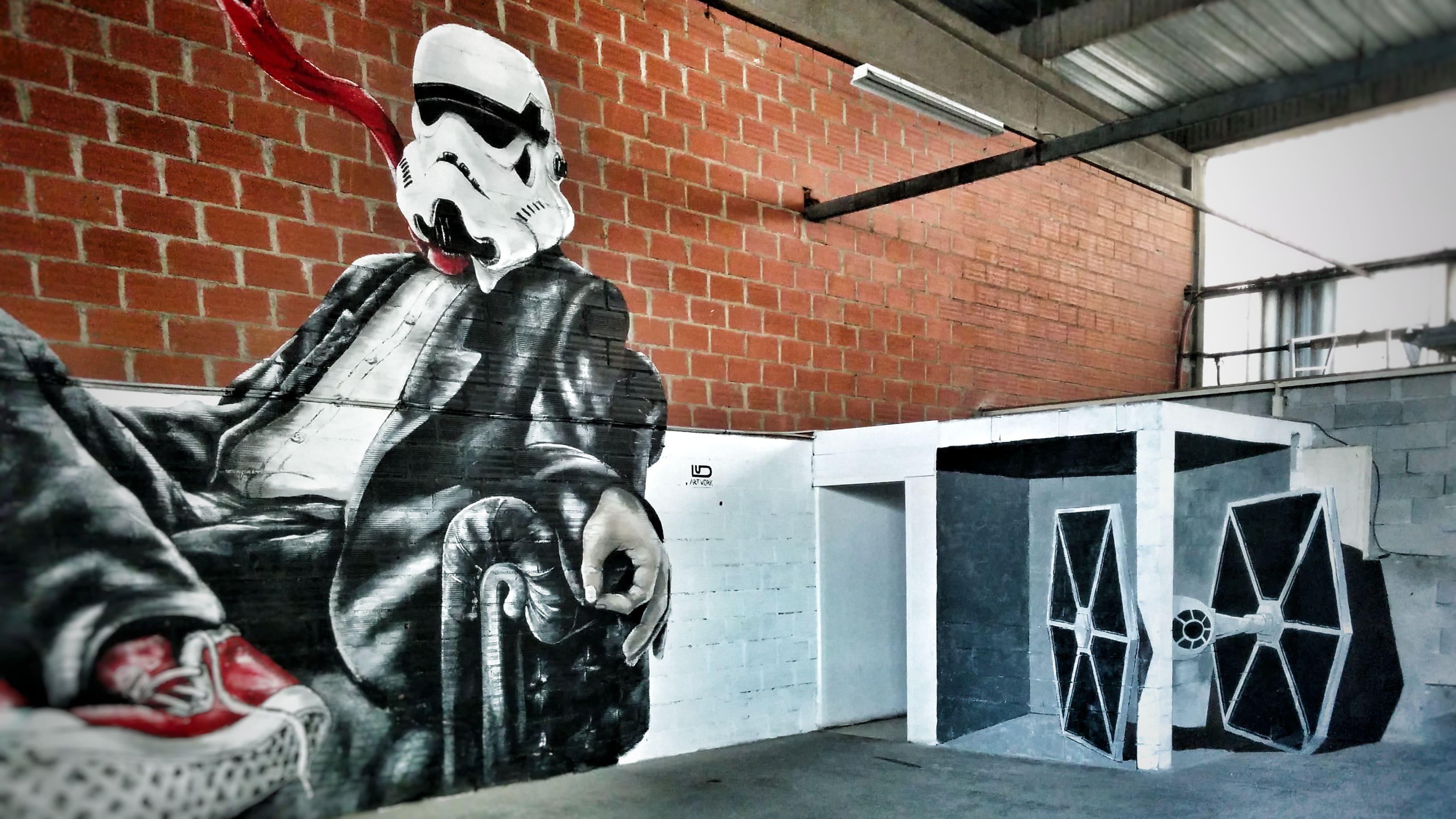 peinture murale décoration graffiti interieure 3d trompe oeil