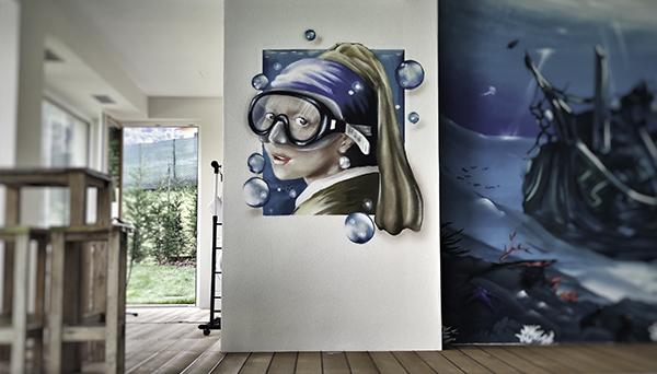 la jeune fille à la perle street art